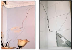 The owners attribute cracks to ground settling and insufficient foundations
