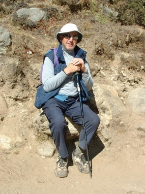 Tony Simmonds during his trek to the Everest base camp