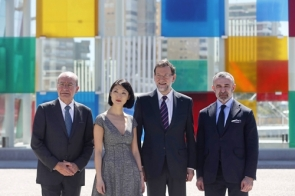 Officials at the inauguration (left to right): Málaga mayor Francisco de la Torre, French culture minister Fleur Pellerin, Spanish PM Mariano Rajoy and Pompidou president Alain Seban