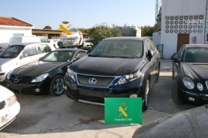 Some of the stolen vehicles recovered in the Guardia Civil operation