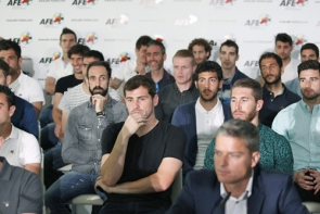 La Liga players during a press conference last week announcing the strike (Photo: EPA)