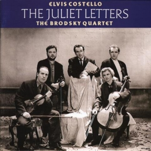Thomas (front left) with Elvis Costello and the other members of the Brodsky quartet on the 'Juliet Letters' album cover