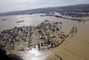A helicopter view of flooding in the Zaragoza area (Photo: EPA)