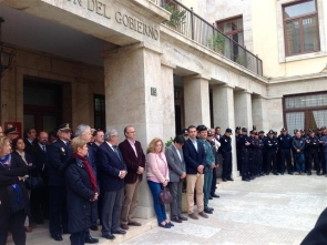 Officials and policemen held a minute's silence in Almería on Monday as a sign of respect for the victims