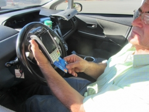 Around half of the city's taxis already carry dataphone devices (Photo: S. Davenport)