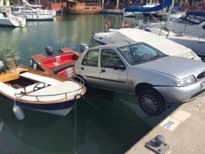 Car 'docked' at Puerto Marina