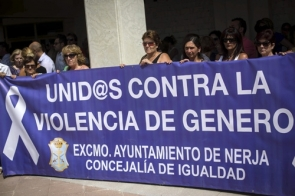 A protest against domestic violence was held at the museum entrance at midday on Saturday