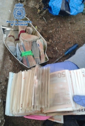 Some of the cash officers found buried in the garden