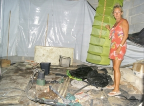 Christine in the basement that had been converted into a marijuana growing operation
