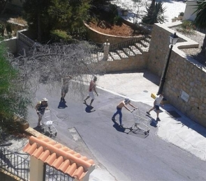 Rowdy youths such as these racing shopping trolleys up a residential street are making Mojacar residents' life a misery