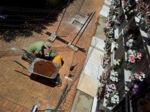 Workers probe the ground looking for mass graves at Ronda's San Lorenzo cemetery