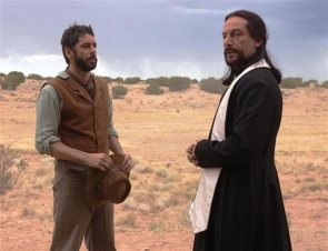 A scene from 'Sweetwater' with Eduardo Noriega (left) and Jason Isaacs