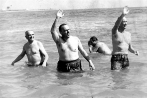 Manuel Fraga pictured in 1966 (second left) during his famous swim