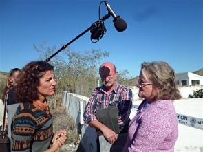 Maura Hillen (right) being interviewed on site at the demolition of two illegal homes in Cantoria last November