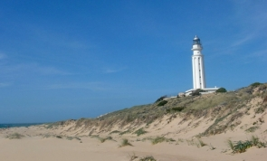 The lighthouse overlooks the coast near the site of the famous Battle of Trafalgar