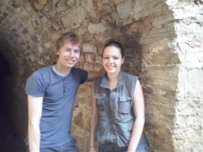 Geology students Clement Vorgy and Helene Velcin at the entrance to the mine