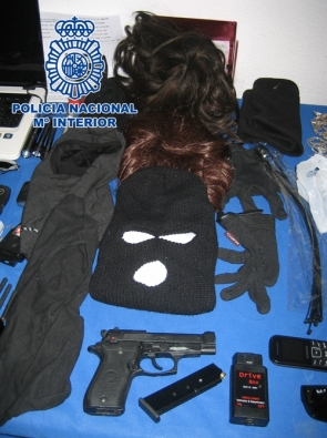 Wigs, masks and weapons were some of the items seized by police in the operation