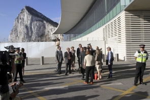 The EC delegates being received by Gibraltar officials last Wednesday (Photo: EPA)