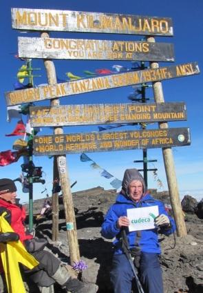 Tony Simmonds at the summit of Mount Kilimanjaro