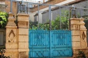 Yoke and arrows – fascist symbols at the entrance to the Convento de las Claras in Almería
