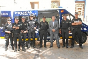 Nijar's local police force, with mayor Antonio Jésus Rodriguez