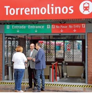 The PSOE'S Francisco Conejo and José Ortiz outside the Torremolinos station