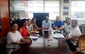 Cuevas mayor Antonio Fernández (centre right) and environment delegate José Manuel Ortiz meeting affected landowners